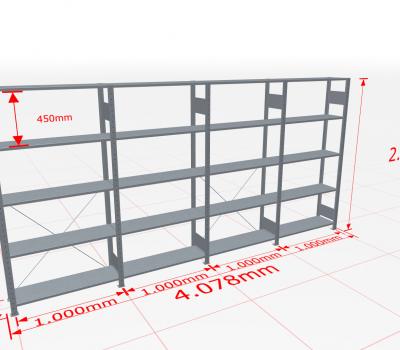 Fachbodenregal Komplettregal 2000x4078x300 mm (HxBxT) SCHULTE Lagertechnik verzinkt