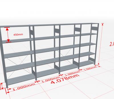 Fachbodenregal Komplettregal 2000x4078x400 mm (HxBxT) SCHULTE Lagertechnik verzinkt