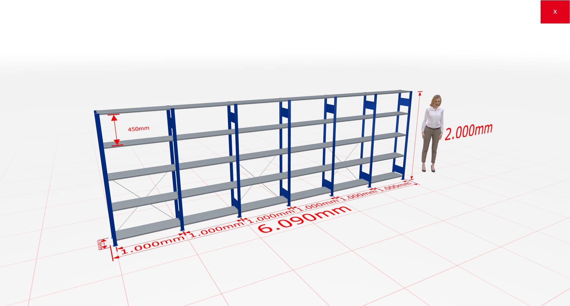 Fachbodenregal Komplettregal 2000x6090x300 mm (HxBxT) SCHULTE Lagertechnik blau 5 Ebenen  150 kg je Boden