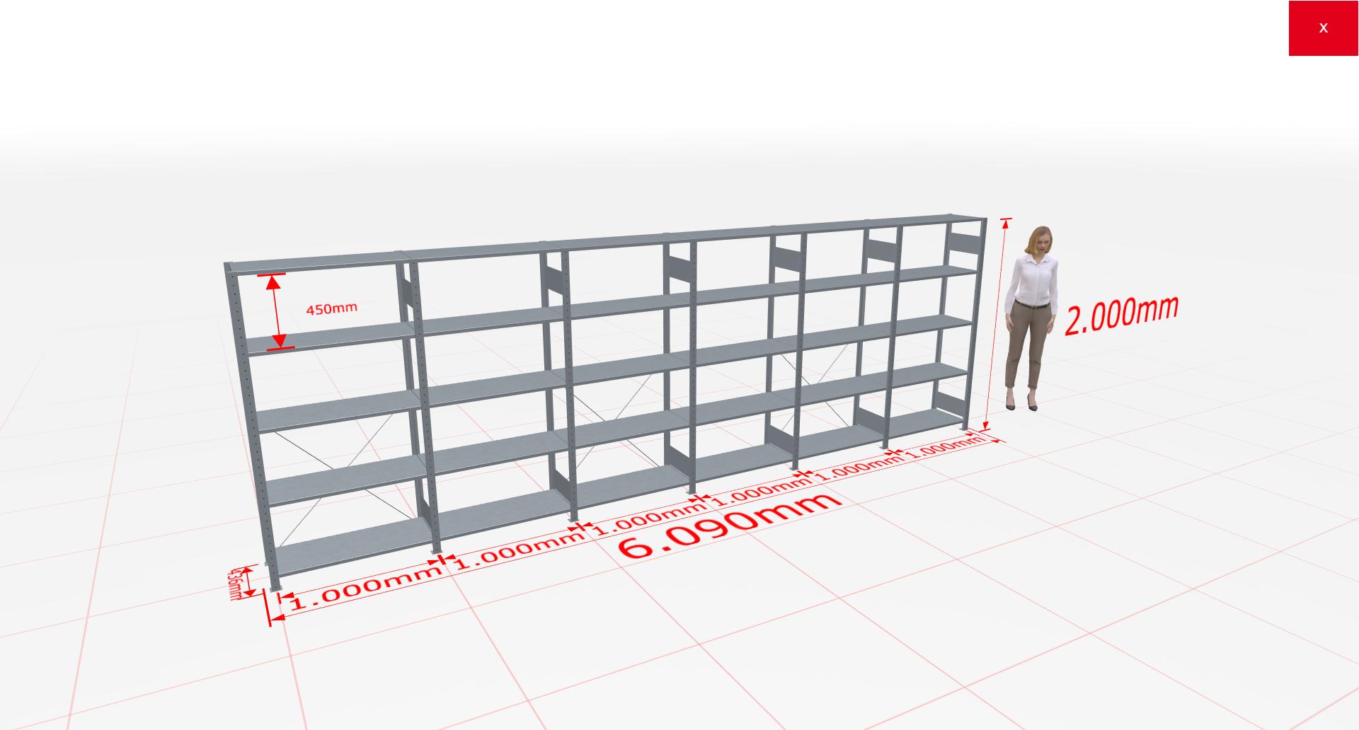 Fachbodenregal Komplettregal 2000x6090x400 mm (HxBxT) SCHULTE Lagertechnik verzinkt 5 Ebenen  150 kg je Boden