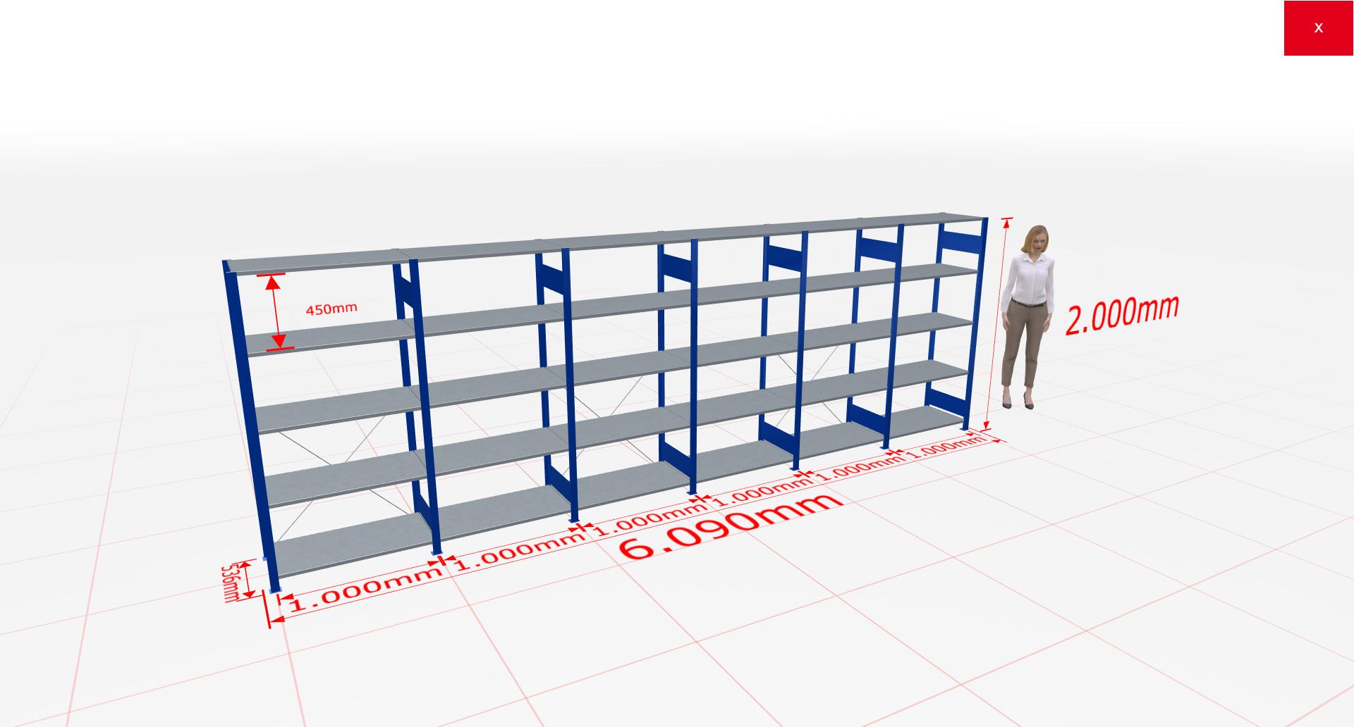 Fachbodenregal Komplettregal 2000x6090x500 mm (HxBxT) SCHULTE Lagertechnik blau 5 Ebenen  150 kg je Boden