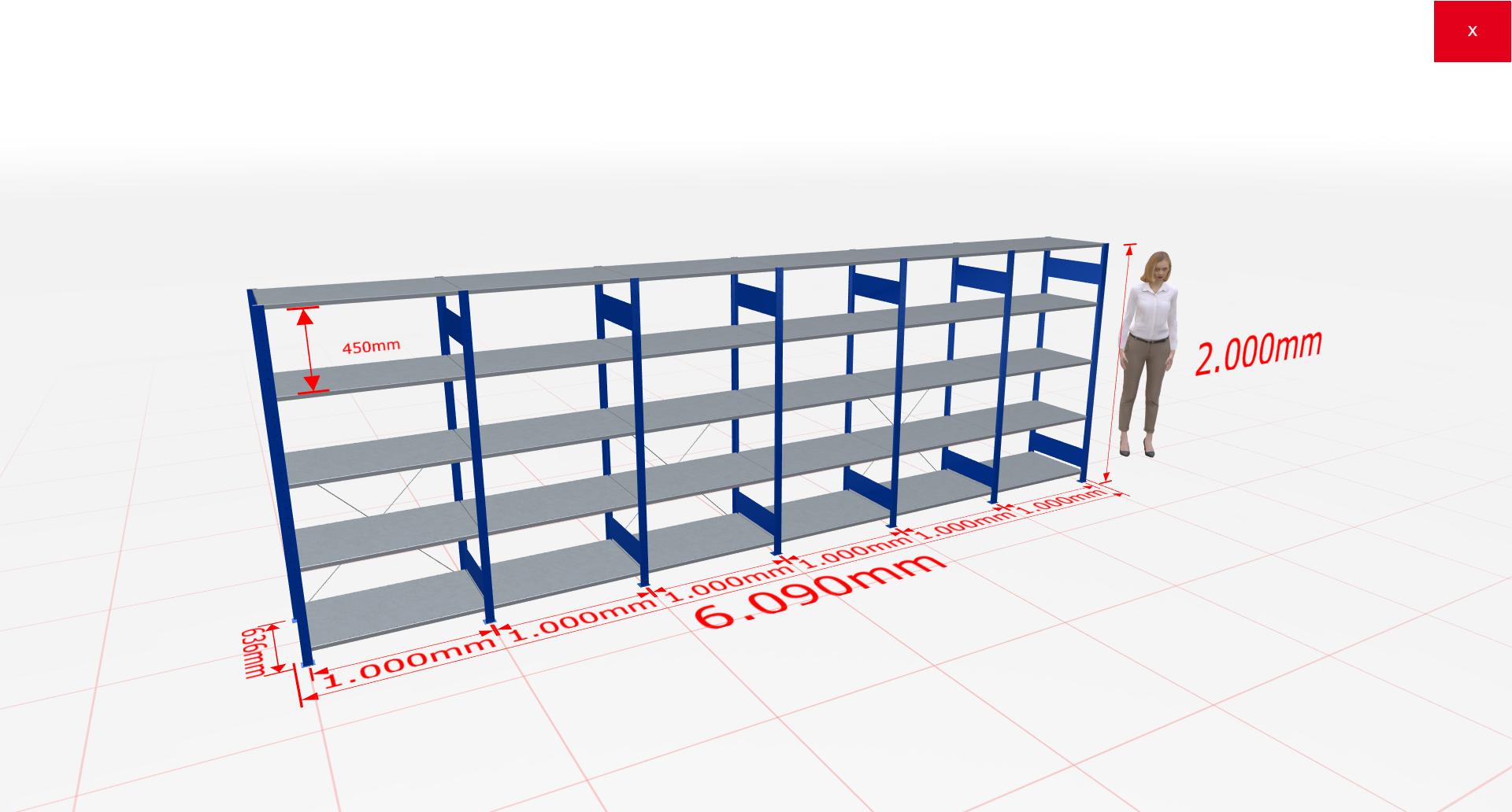 Fachbodenregal Komplettregal 2000x6090x600 mm (HxBxT) SCHULTE Lagertechnik blau 5 Ebenen  150 kg je Boden