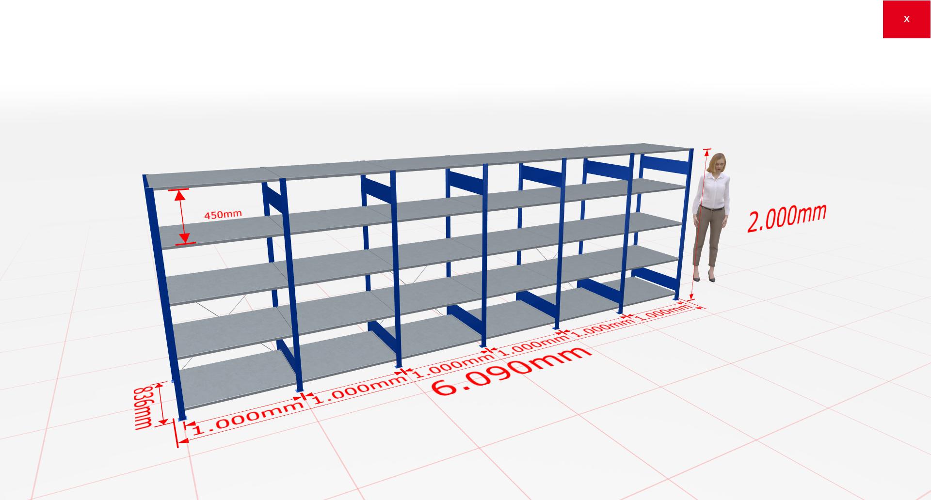 Fachbodenregal Komplettregal 2000x6090x800 mm (HxBxT) SCHULTE Lagertechnik blau 5 Ebenen  150 kg je Boden