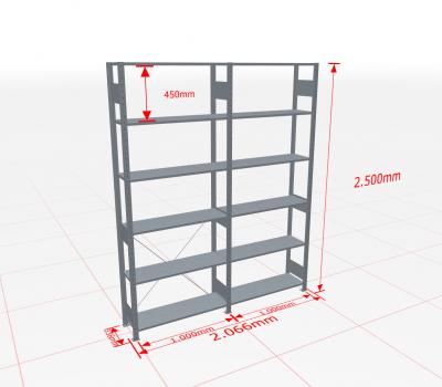 Fachbodenregal Komplettregal 2500x2066x300 mm (HxBxT) SCHULTE Lagertechnik verzinkt