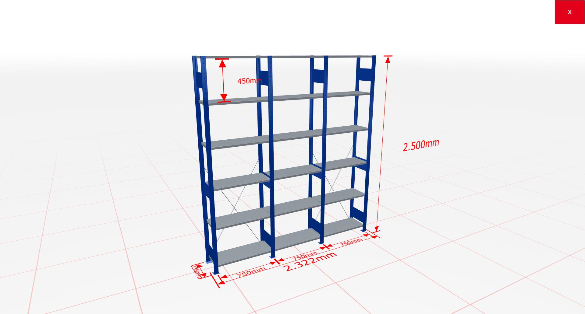 Fachbodenregal Komplettregal 2500x2322x300 mm (HxBxT) SCHULTE Lagertechnik blau 6 Ebenen  150 kg je Boden