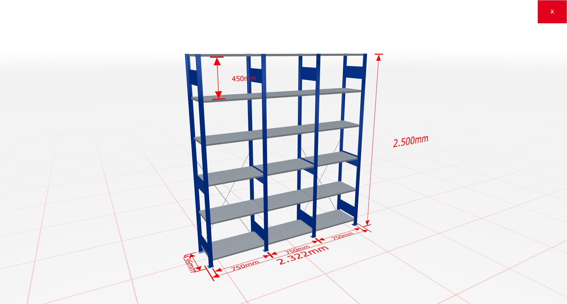 Fachbodenregal Komplettregal 2500x2322x400 mm (HxBxT) SCHULTE Lagertechnik blau 6 Ebenen  150 kg je Boden