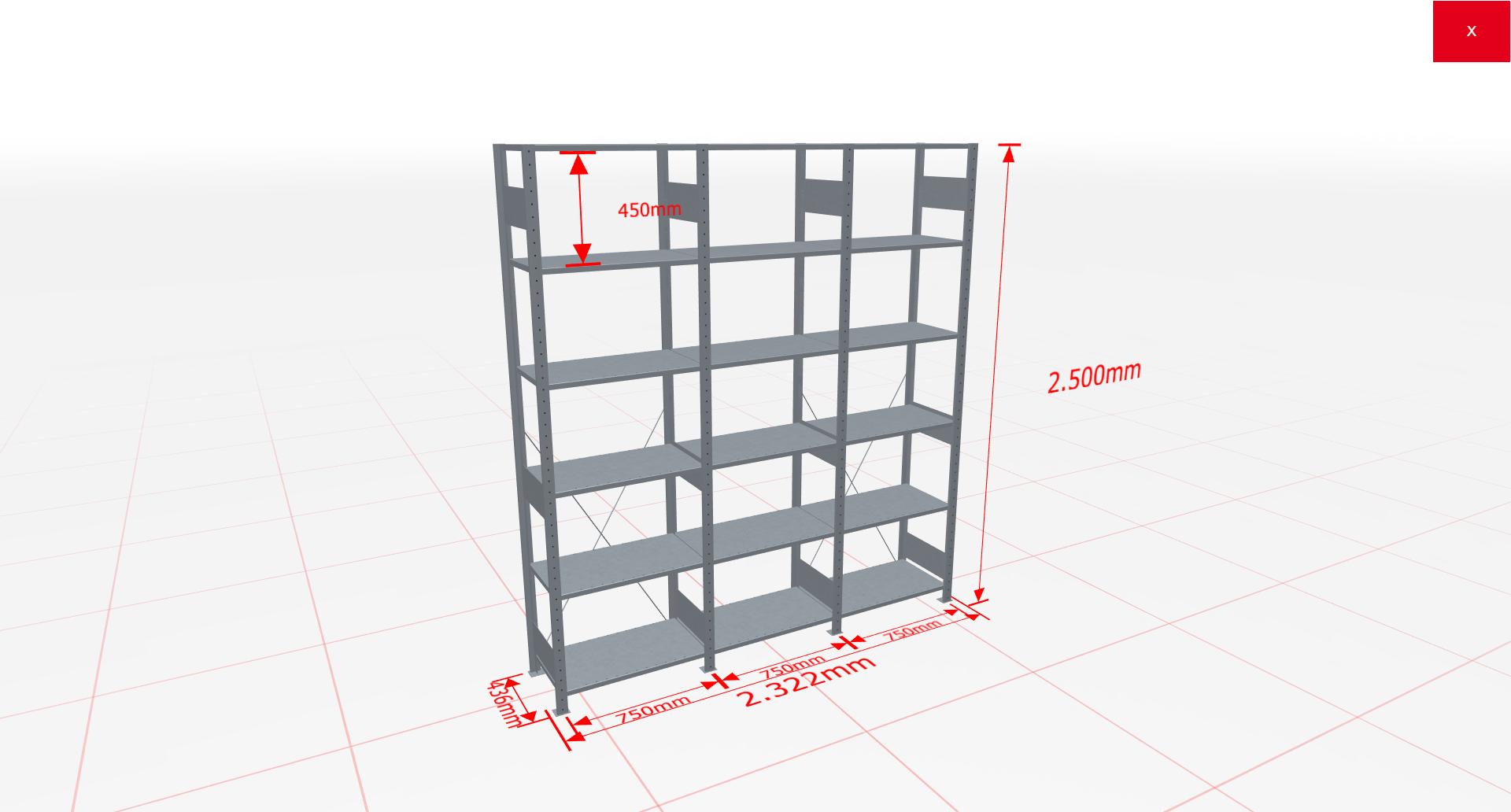 Fachbodenregal Komplettregal 2500x2322x400 mm (HxBxT) SCHULTE Lagertechnik verzinkt 6 Ebenen  150 kg je Boden