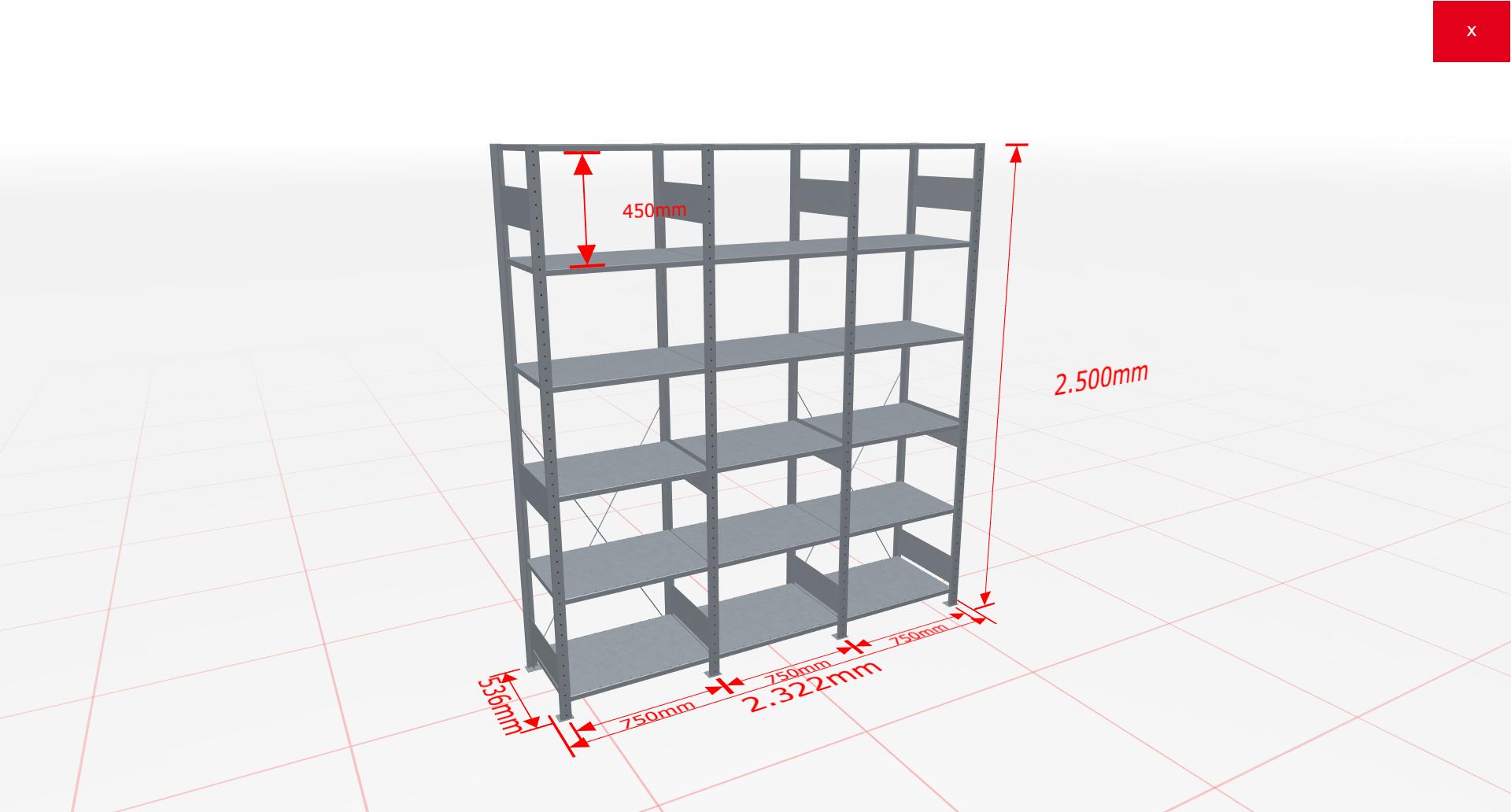 Fachbodenregal Komplettregal 2500x2322x500 mm (HxBxT) SCHULTE Lagertechnik verzinkt 6 Ebenen  150 kg je Boden