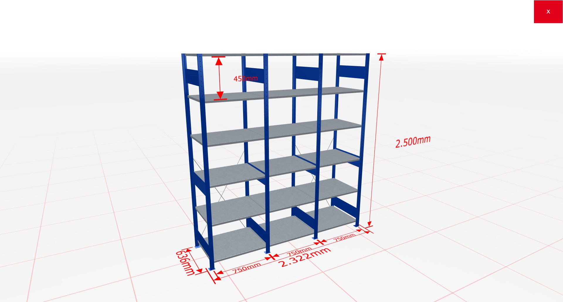 Fachbodenregal Komplettregal 2500x2322x600 mm (HxBxT) SCHULTE Lagertechnik blau 6 Ebenen  150 kg je Boden