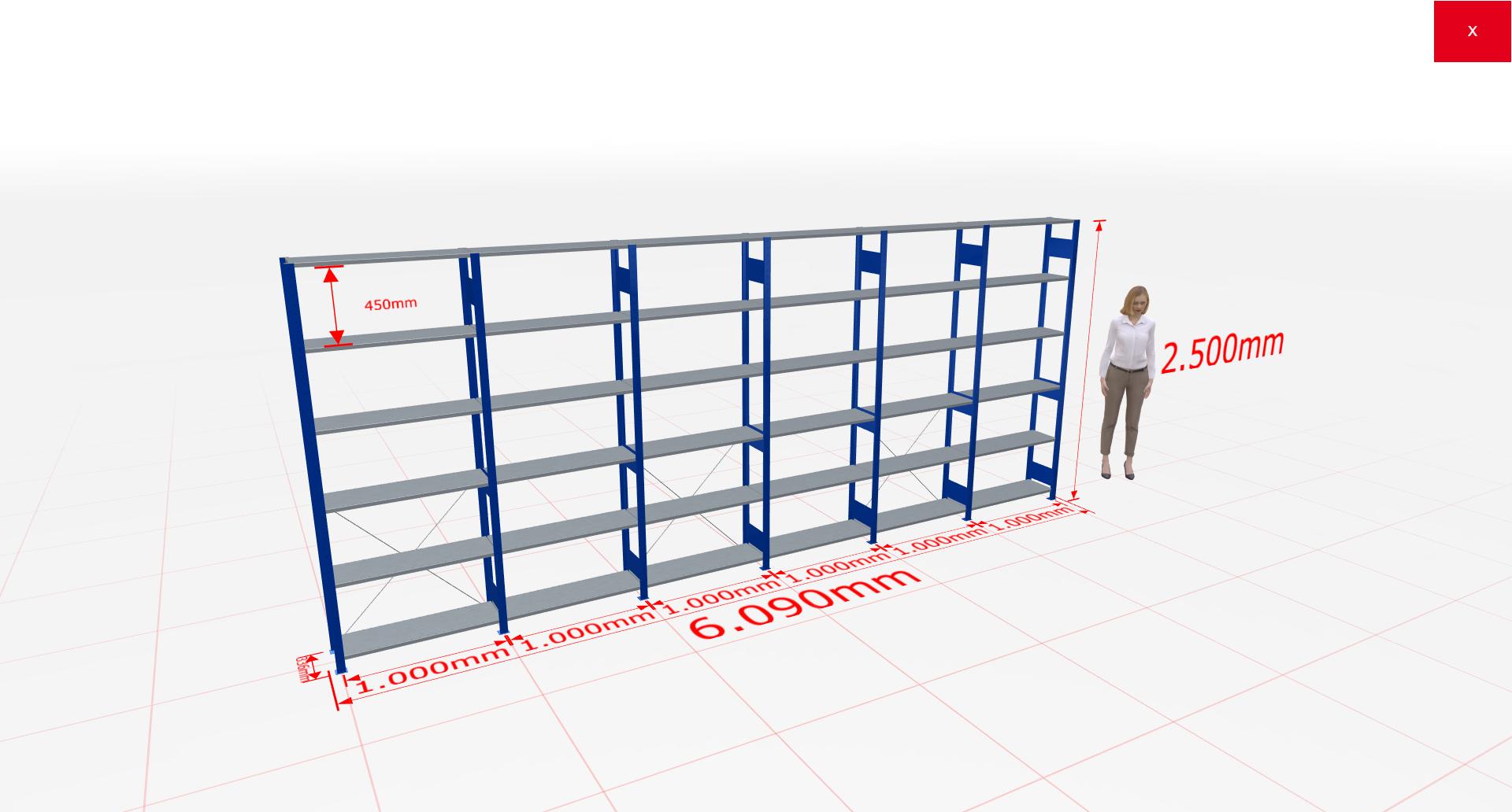 Fachbodenregal Komplettregal 2500x6090x300 mm (HxBxT) SCHULTE Lagertechnik blau 6 Ebenen  150 kg je Boden