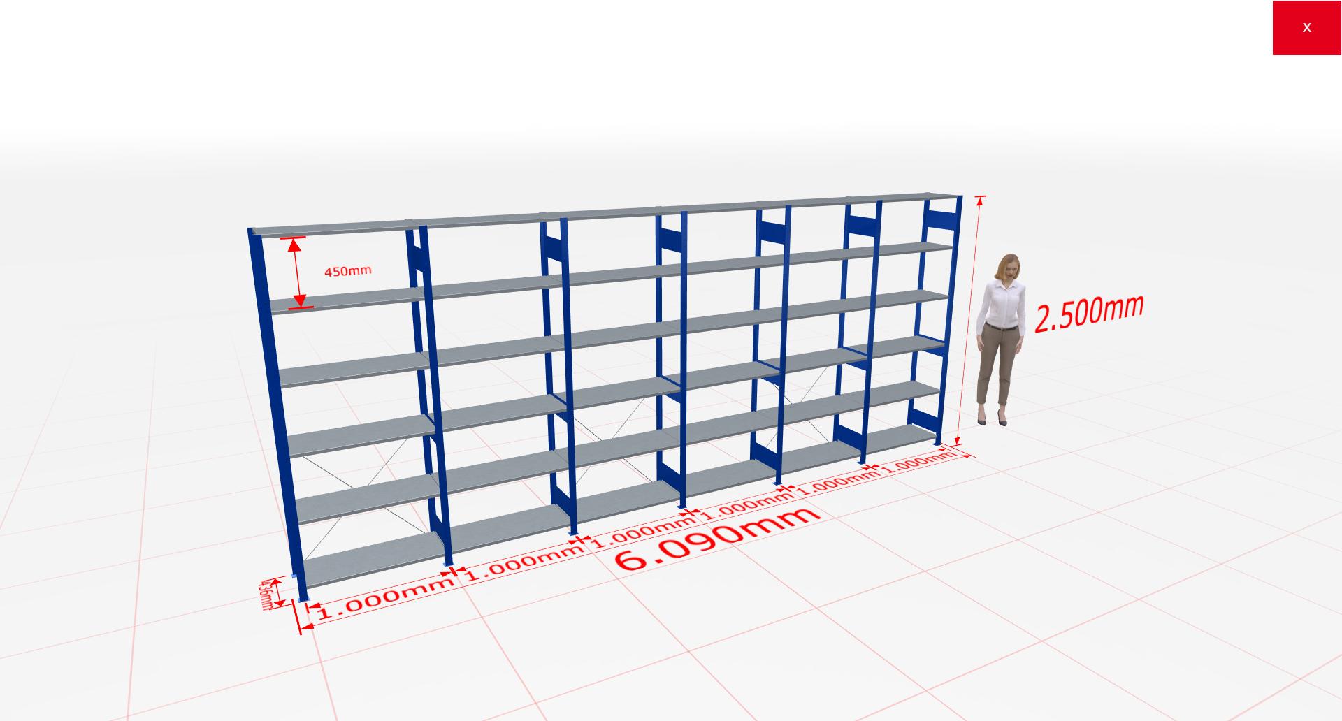 Fachbodenregal Komplettregal 2500x6090x400 mm (HxBxT) SCHULTE Lagertechnik blau 6 Ebenen  150 kg je Boden