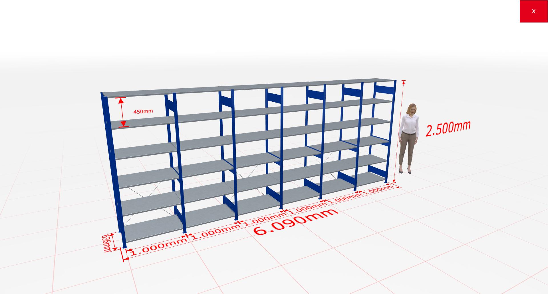 Fachbodenregal Komplettregal 2500x6090x600 mm (HxBxT) SCHULTE Lagertechnik blau 6 Ebenen  150 kg je Boden