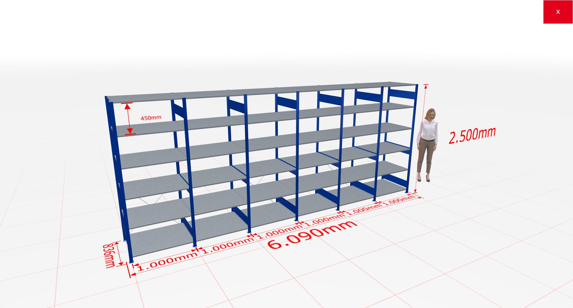 Fachbodenregal Komplettregal 2500x6090x800 mm (HxBxT) SCHULTE Lagertechnik blau 6 Ebenen  150 kg je Boden