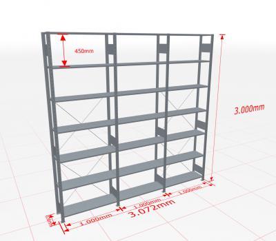 Fachbodenregal Komplettregal 3000x3072x300 mm (HxBxT) SCHULTE Lagertechnik verzinkt