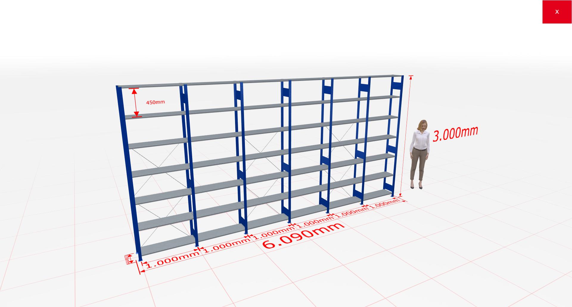 Fachbodenregal Komplettregal 3000x6090x300 mm (HxBxT) SCHULTE Lagertechnik blau 7 Ebenen  150 kg je Boden