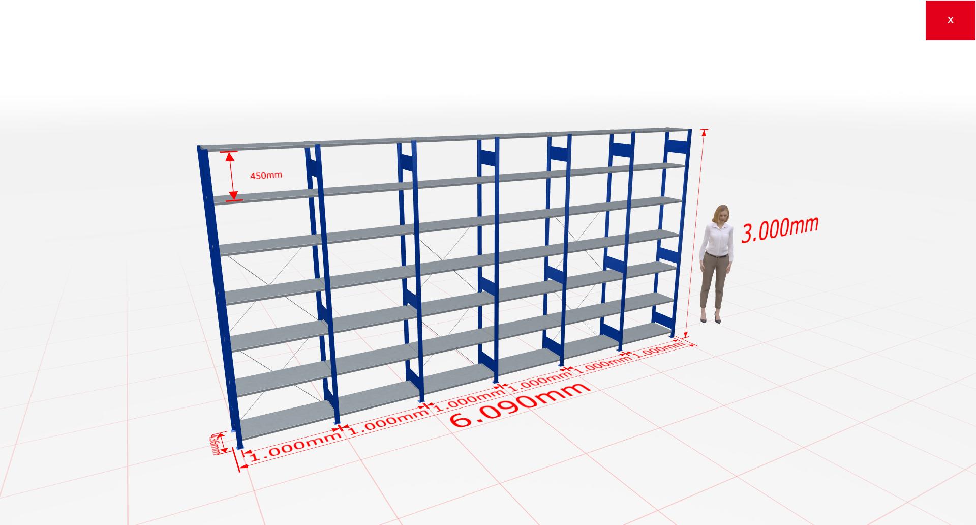 Fachbodenregal Komplettregal 3000x6090x400 mm (HxBxT) SCHULTE Lagertechnik blau 7 Ebenen  150 kg je Boden