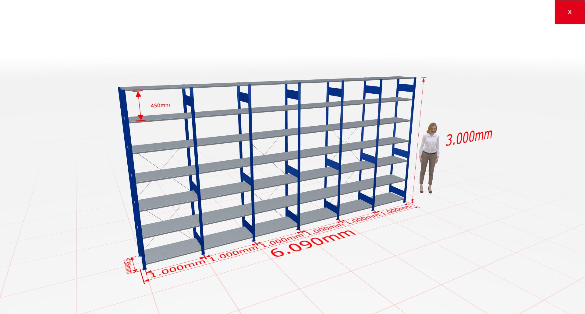 Fachbodenregal Komplettregal 3000x6090x500 mm (HxBxT) SCHULTE Lagertechnik blau 7 Ebenen  150 kg je Boden