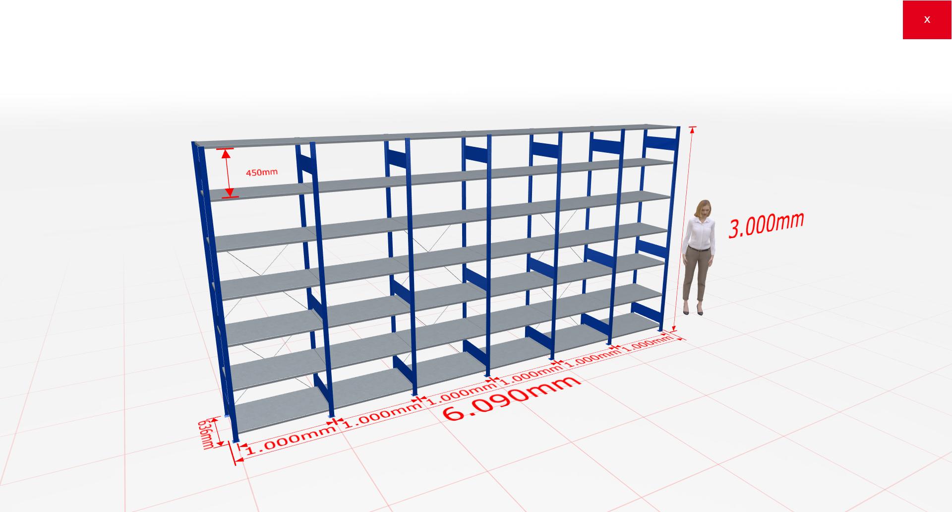 Fachbodenregal Komplettregal 3000x7096x600 mm (HxBxT) SCHULTE Lagertechnik blau 7 Ebenen  150 kg je Boden