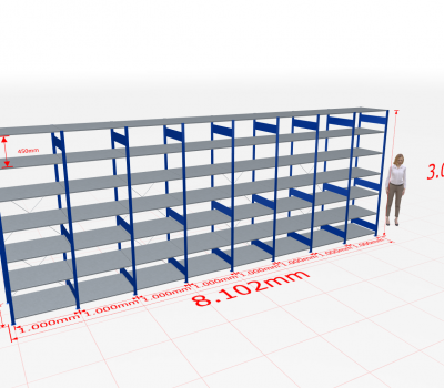 Fachbodenregal Komplettregal 3000x8102x800 mm (HxBxT) SCHULTE Lagertechnik blau 7 Ebenen
