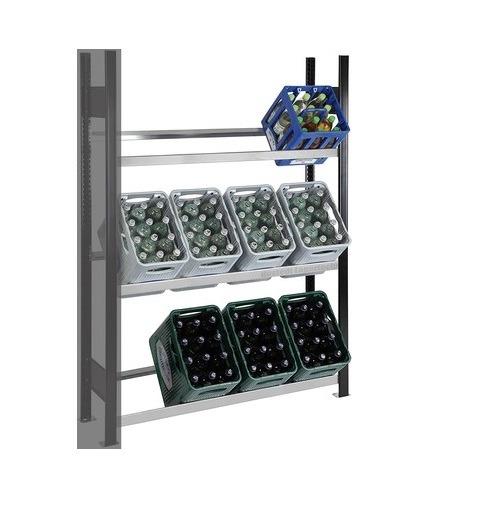 Getränkekistenregal 12 Kisten SCHULTE Anbauregal – 1800x1300x300 mm (HxBxT) schwarz-silber