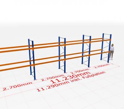 Palettenregal Komplettregal 3000x11230x1100 mm (HxBxT) SCHULTE Lagertechnik 3 Lagerebenen