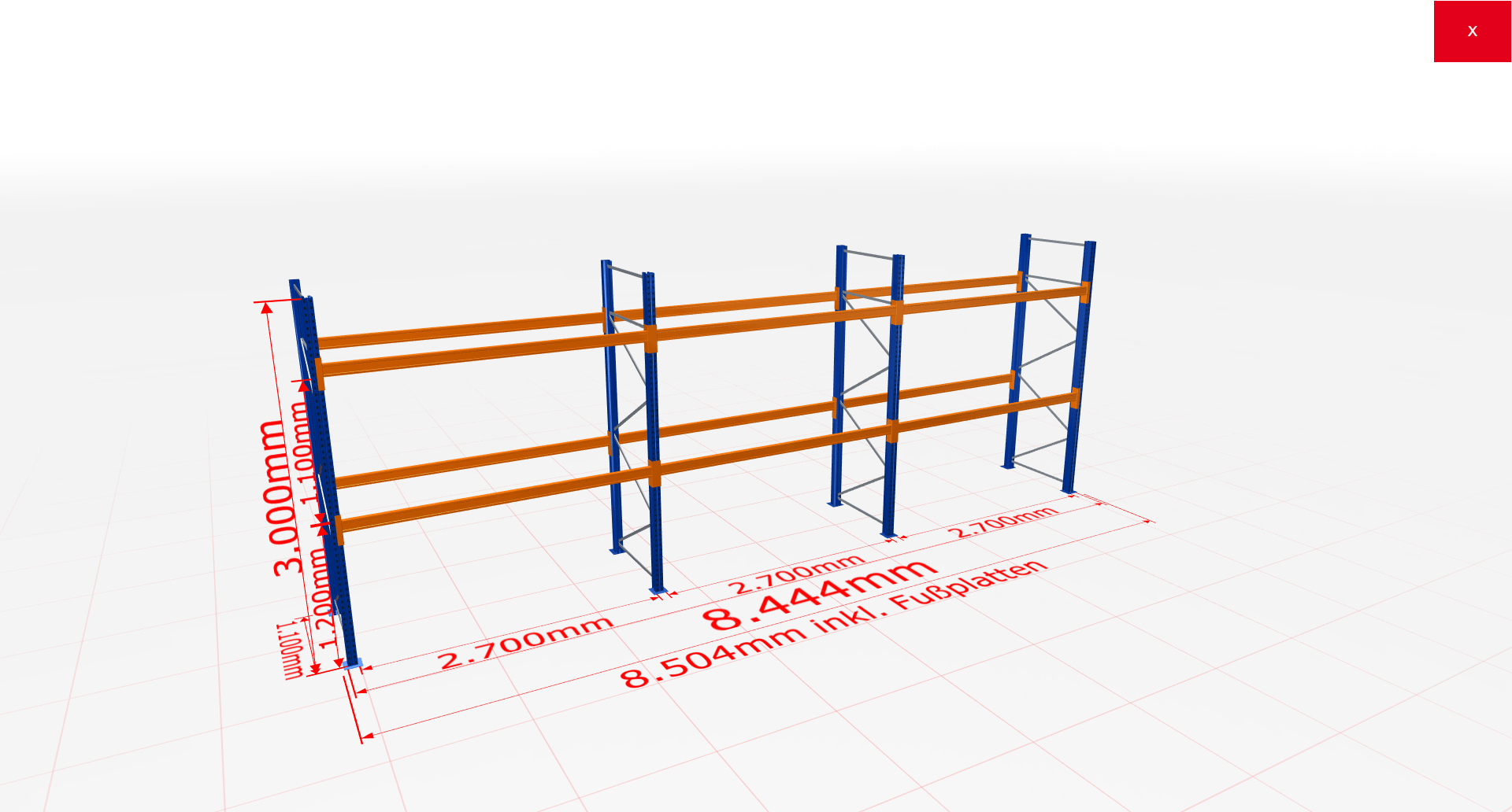 Palettenregal Komplettregal 3000x8444x1100 mm (HxBxT) 2 Fachebenen SCHULTE Lagertechnik