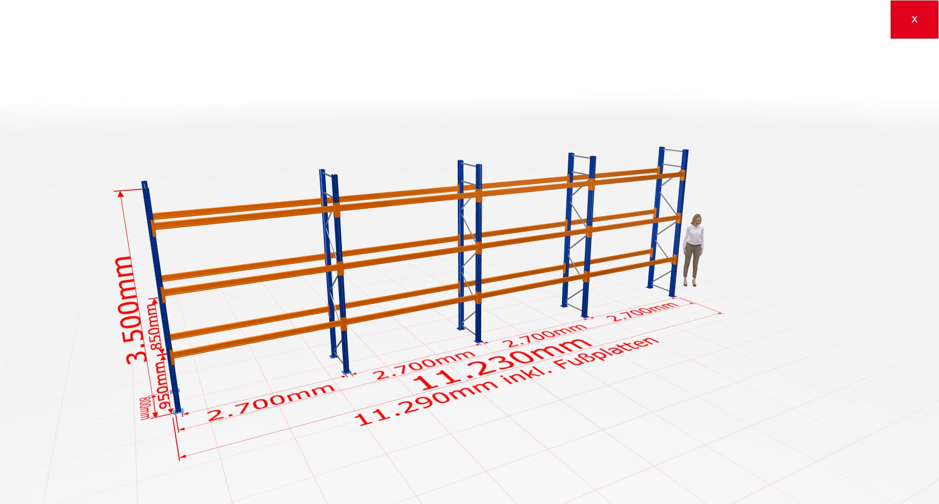 Palettenregal Komplettregal 3500x11230x800 mm (HxBxT) 3 Fachebenen SCHULTE Lagertechnik