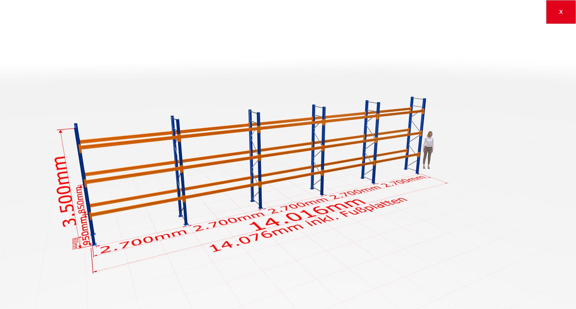 Palettenregal Komplettregal 3500x14016x800 mm (HxBxT) 3 Fachebenen SCHULTE Lagertechnik