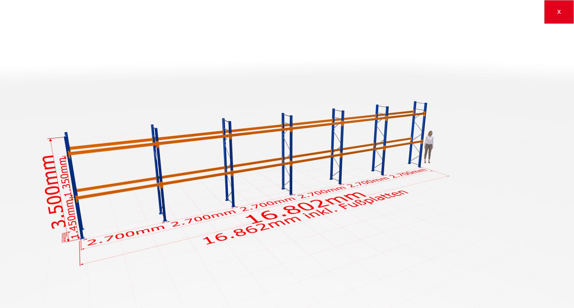 Palettenregal Komplettregal 3500x16802x800 mm (HxBxT) 2 Fachebenen SCHULTE Lagertechnik