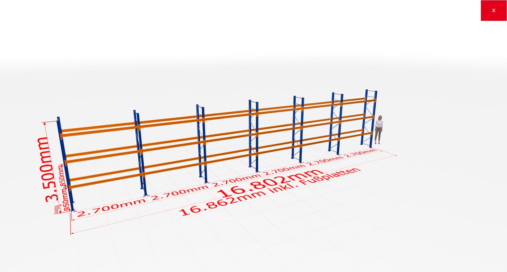 Palettenregal Komplettregal 3500x16802x800 mm (HxBxT) 3 Fachebenen SCHULTE Lagertechnik