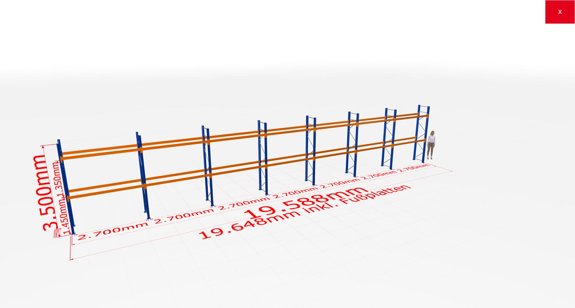 Palettenregal Komplettregal 3500x19588x800 mm (HxBxT) 2 Fachebenen SCHULTE Lagertechnik