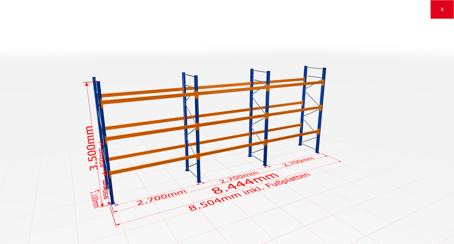 Palettenregal Komplettregal 3500x8444x1100 mm (HxBxT) 3 Fachebenen SCHULTE Lagertechnik
