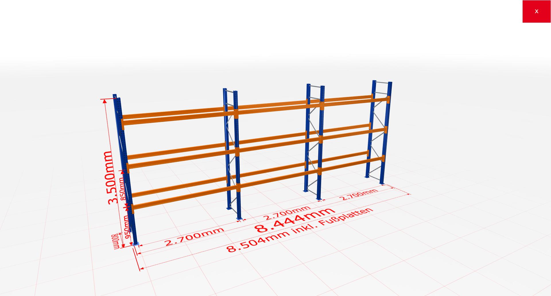 Palettenregal Komplettregal 3500x8444x800 mm (HxBxT) 3 Fachebenen SCHULTE Lagertechnik