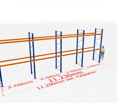 Palettenregal Komplettregal 4000x11230x1100 mm (HxBxT) SCHULTE Lagertechnik 3 Lagerebenen