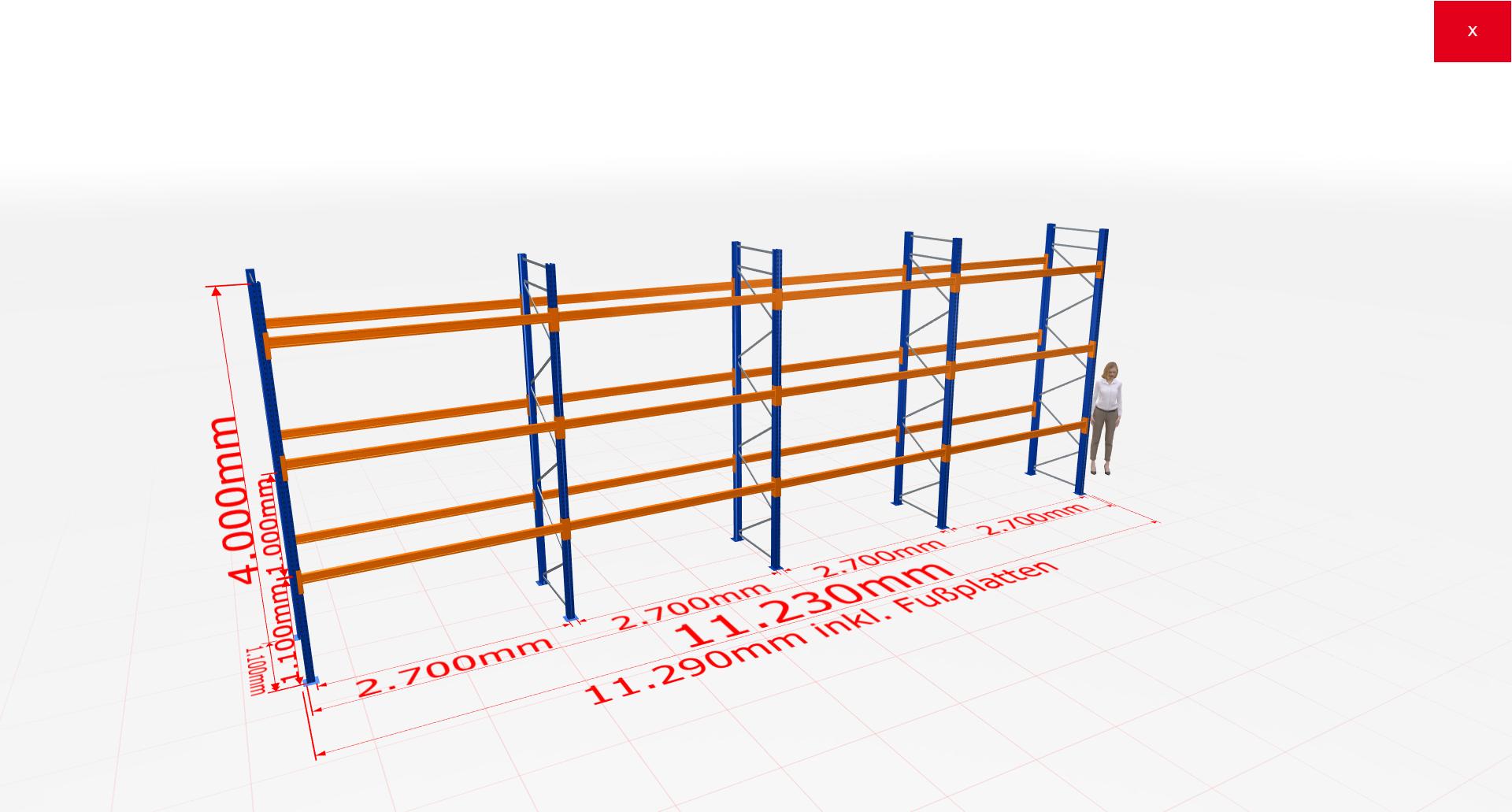 Palettenregal Komplettregal 4000x11230x1100 mm (HxBxT) 3 Fachebenen SCHULTE Lagertechnik