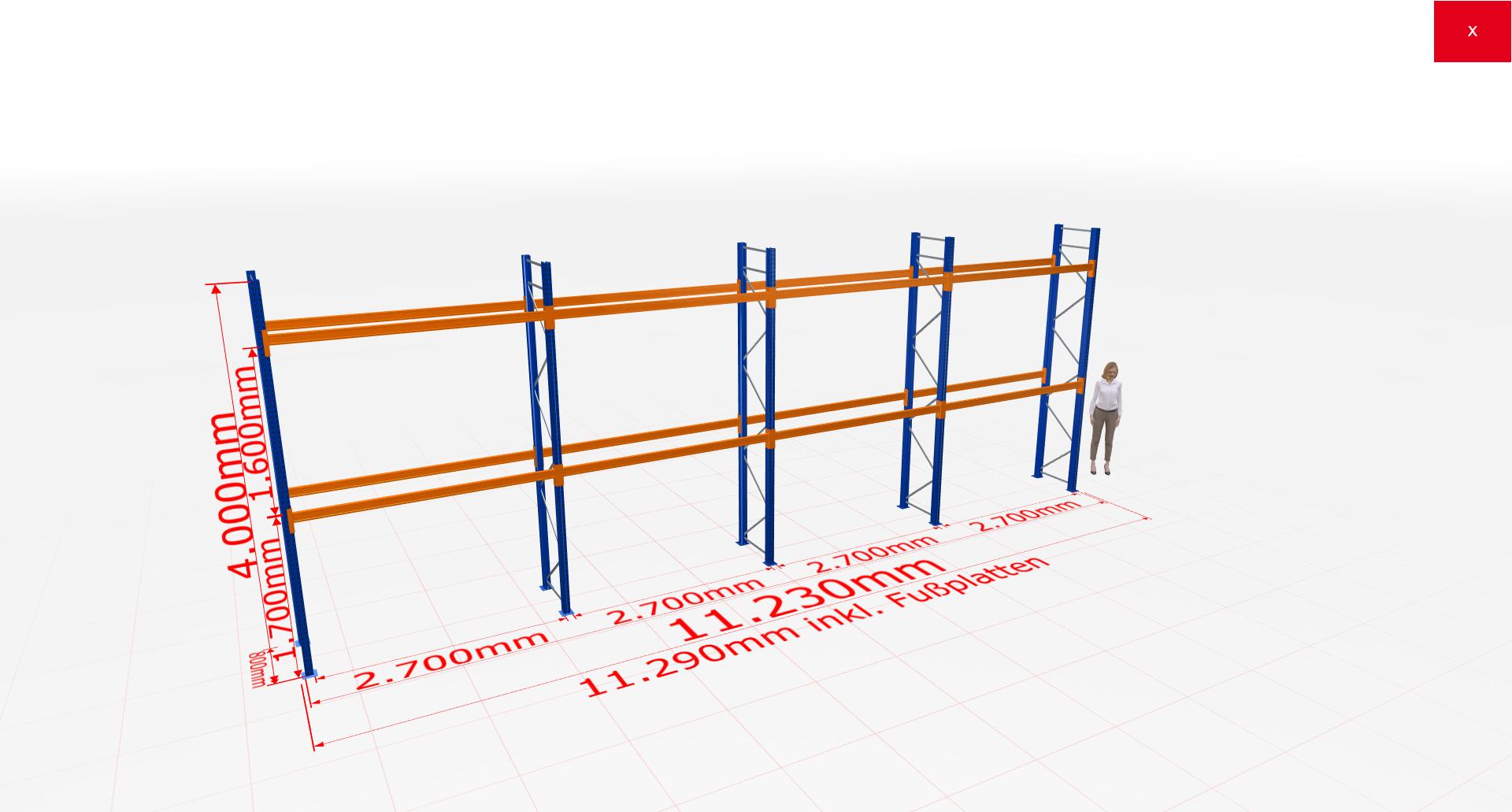 Palettenregal Komplettregal 4000x11230x800 mm (HxBxT) 2 Fachebenen SCHULTE Lagertechnik