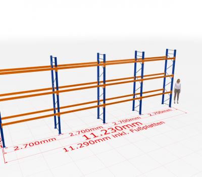 Palettenregal Komplettregal 4000x11230x800 mm (HxBxT) SCHULTE Lagertechnik 4 Lagerebenen
