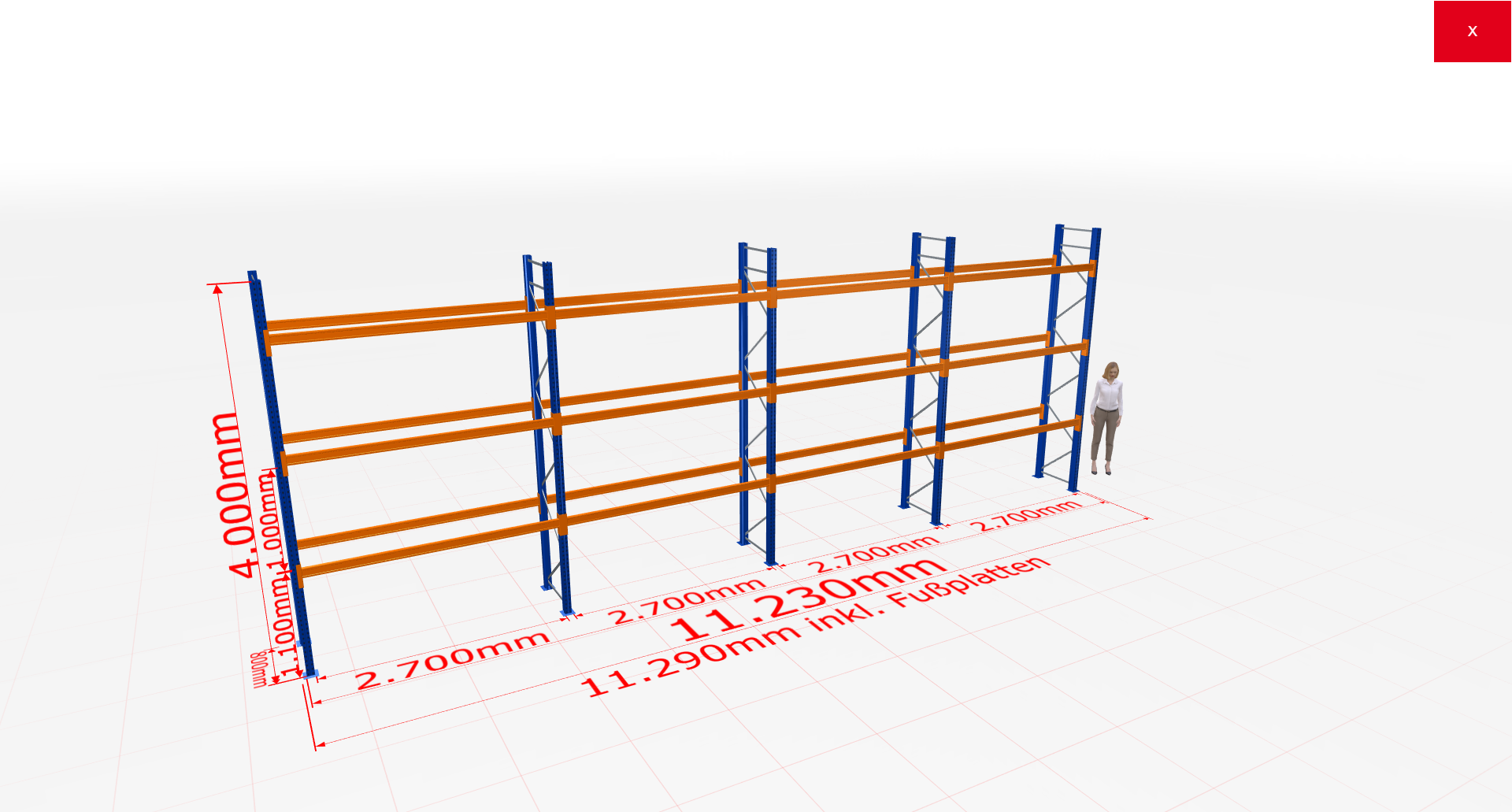 Palettenregal Komplettregal 4000x11230x800 mm (HxBxT) 3 Fachebenen SCHULTE Lagertechnik