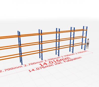 Palettenregal Komplettregal 4000x14016x800 mm (HxBxT) SCHULTE Lagertechnik 4 Lagerebenen