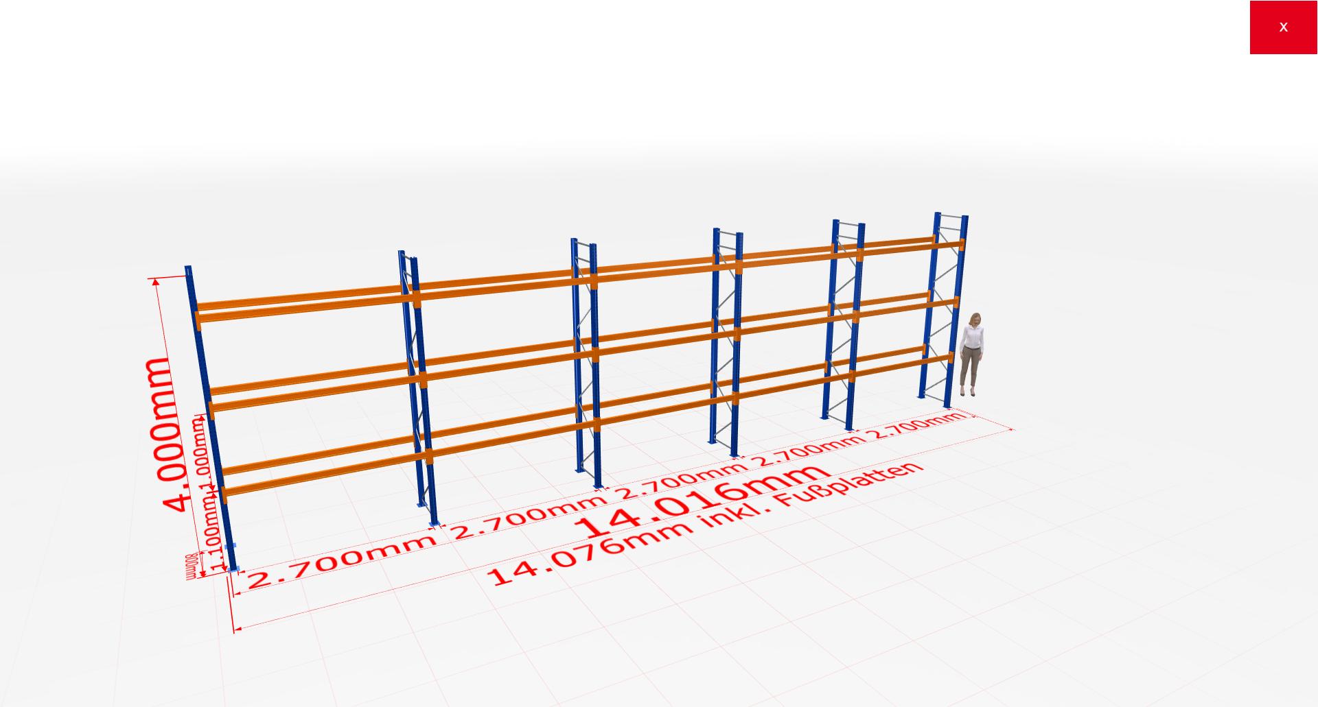 Palettenregal Komplettregal 4000x14016x800 mm (HxBxT) 3 Fachebenen SCHULTE Lagertechnik
