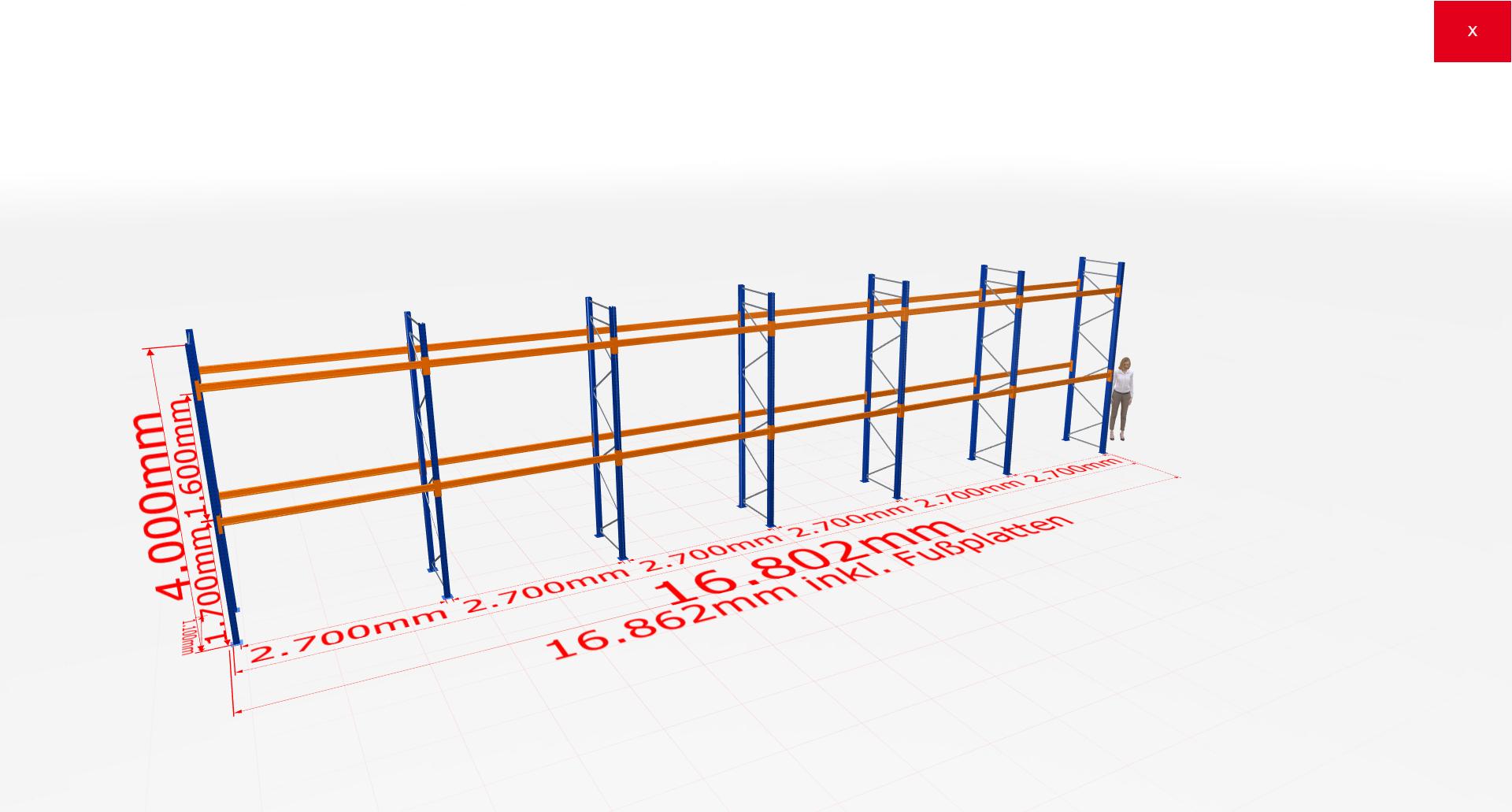 Palettenregal Komplettregal 4000x16802x1100 mm (HxBxT) 2 Fachebenen SCHULTE Lagertechnik