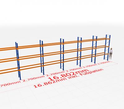 Palettenregal Komplettregal 4000x16802x800 mm (HxBxT) SCHULTE Lagertechnik 4 Lagerebenen