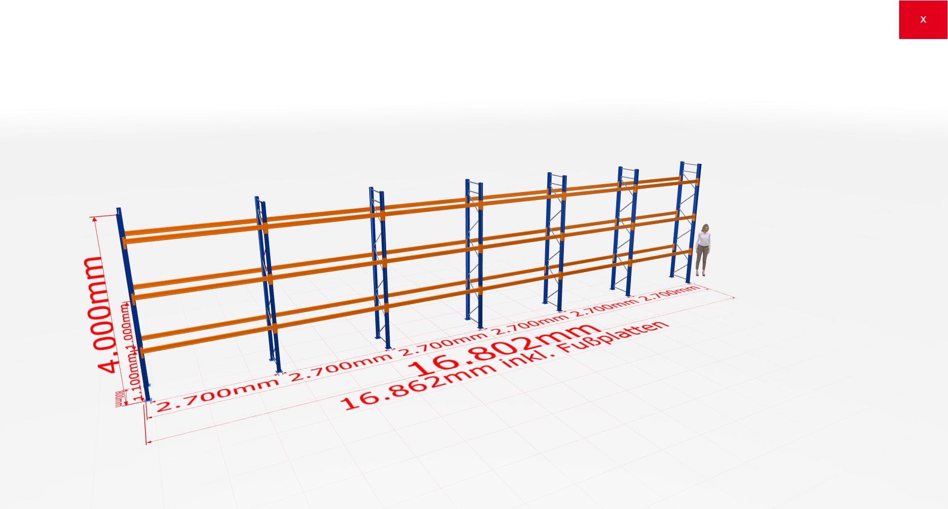 Palettenregal Komplettregal 4000x16802x800 mm (HxBxT) 3 Fachebenen SCHULTE Lagertechnik