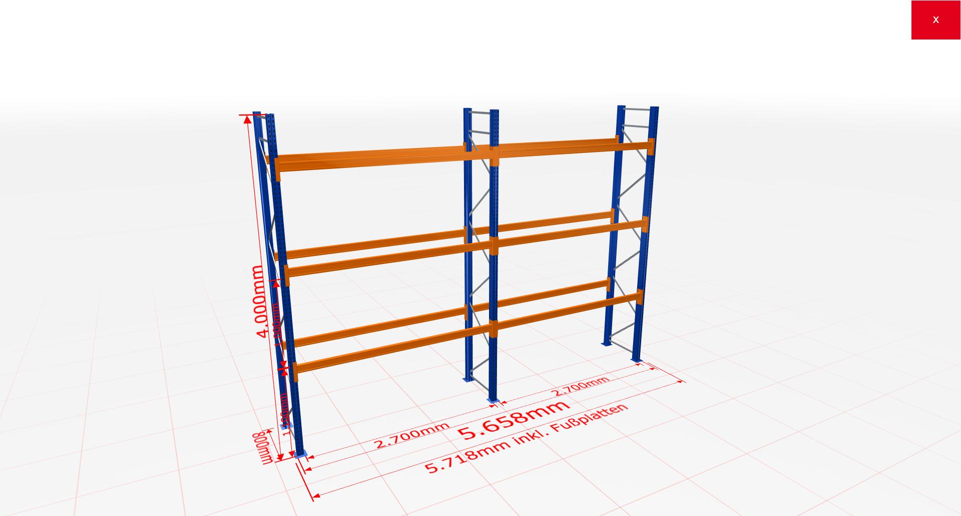 Palettenregal Komplettregal 4000x5658x800 mm (HxBxT) 3 Fachebenen SCHULTE Lagertechnik