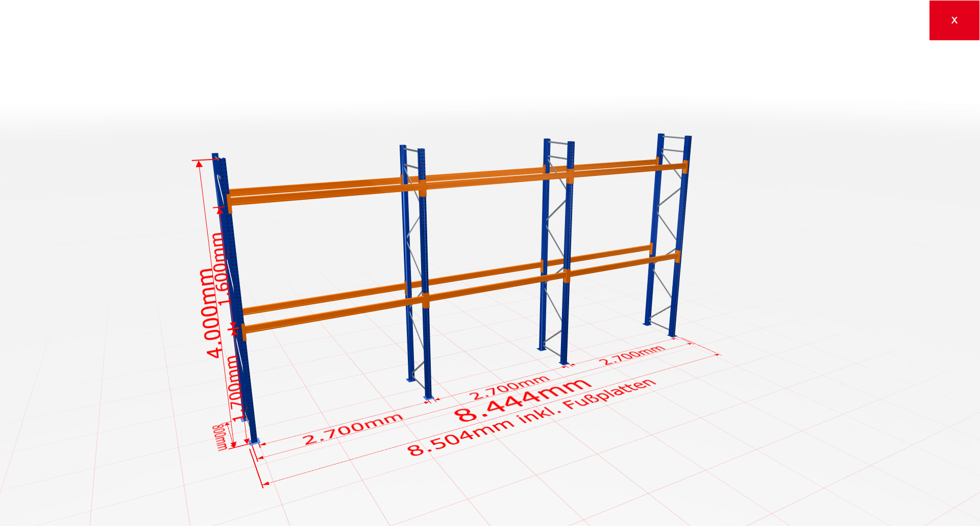 Palettenregal Komplettregal 4000x8444x800 mm (HxBxT) 2 Fachebenen SCHULTE Lagertechnik