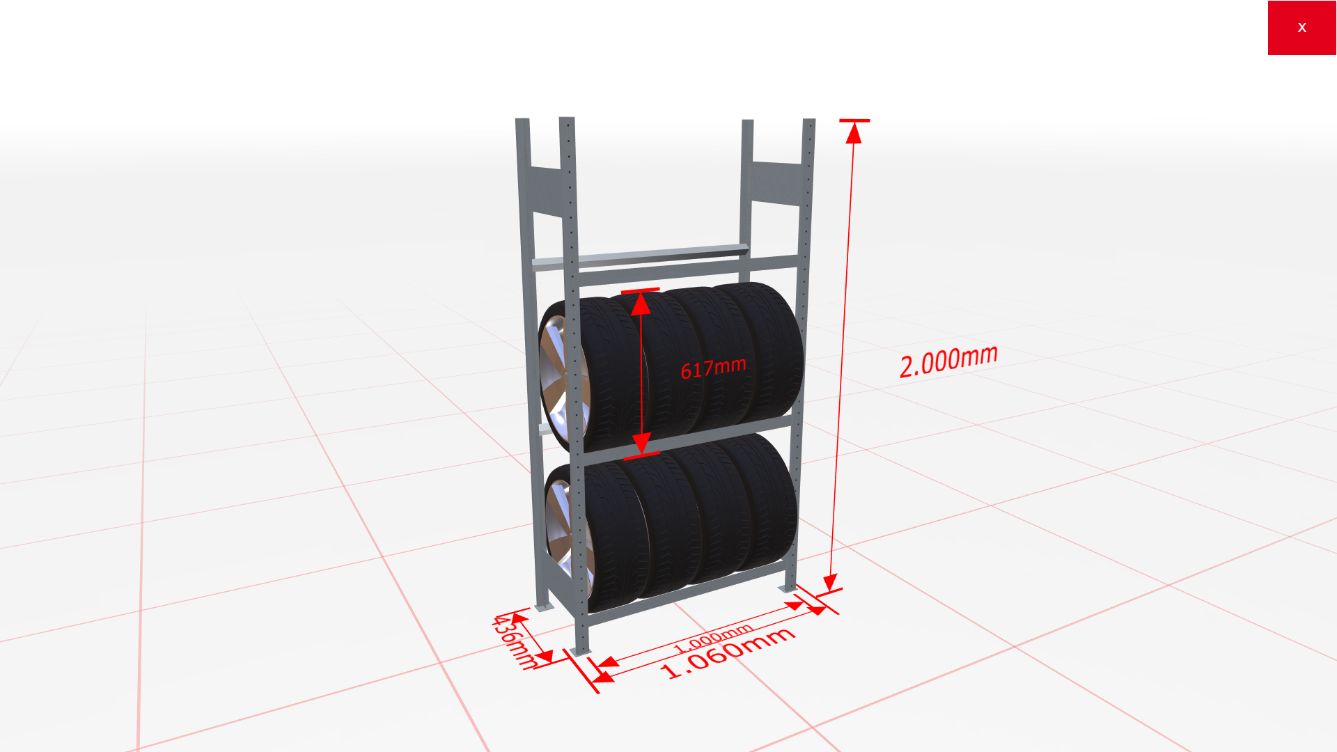 Räderregal Grundregal SCHULTE Lagertechnik 2000x1000x400 mm – 3 Ebenen á 1000 mm, verzinkt