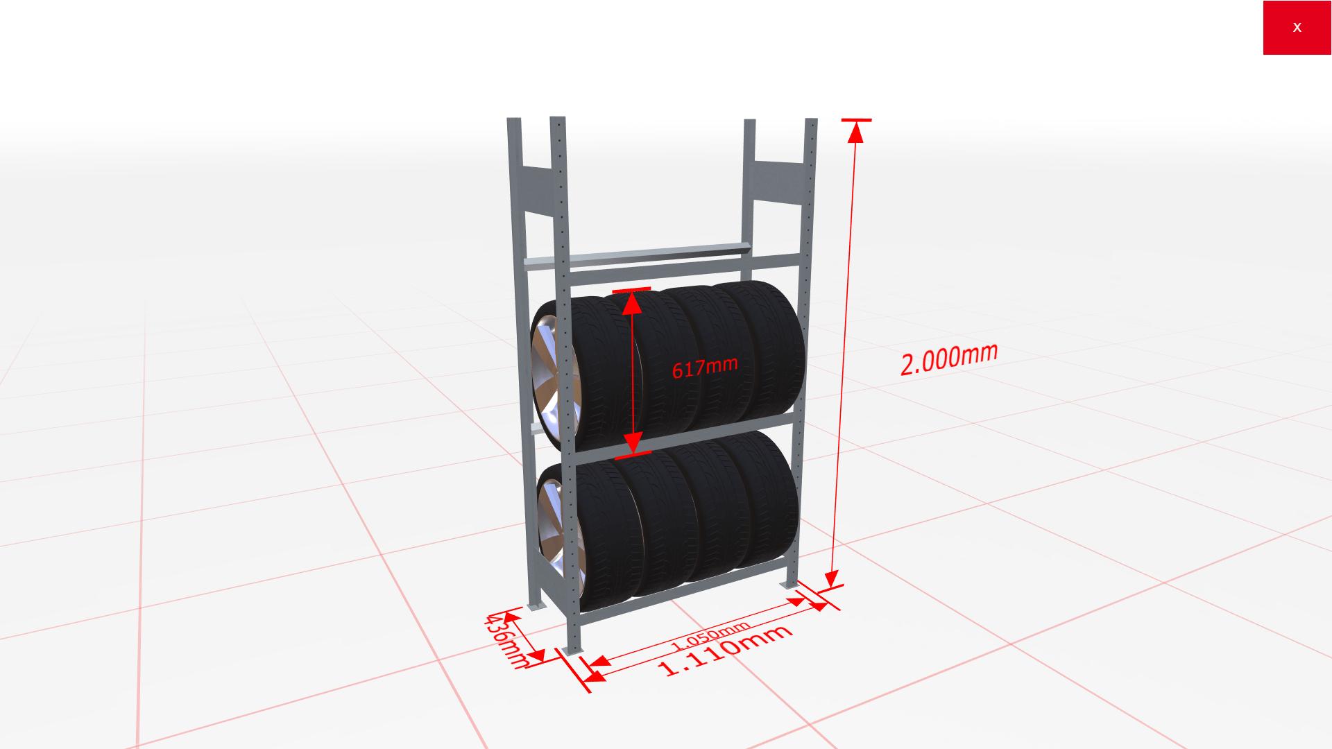 Räderregal Grundregal SCHULTE Lagertechnik 2000x1050x400 mm – 3 Ebenen á 1050 mm, verzinkt