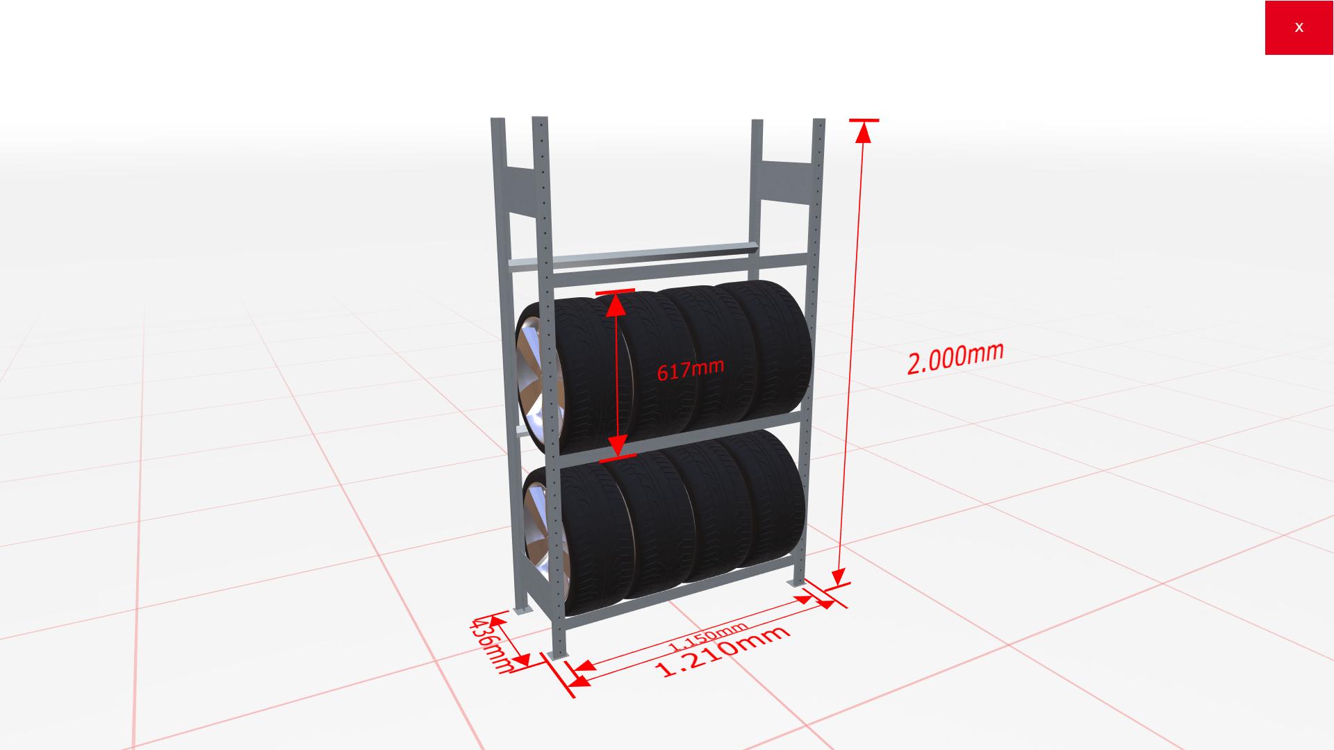 Räderregal Grundregal SCHULTE Lagertechnik 2000x1150x400 mm – 3 Ebenen á 1150 mm, verzinkt