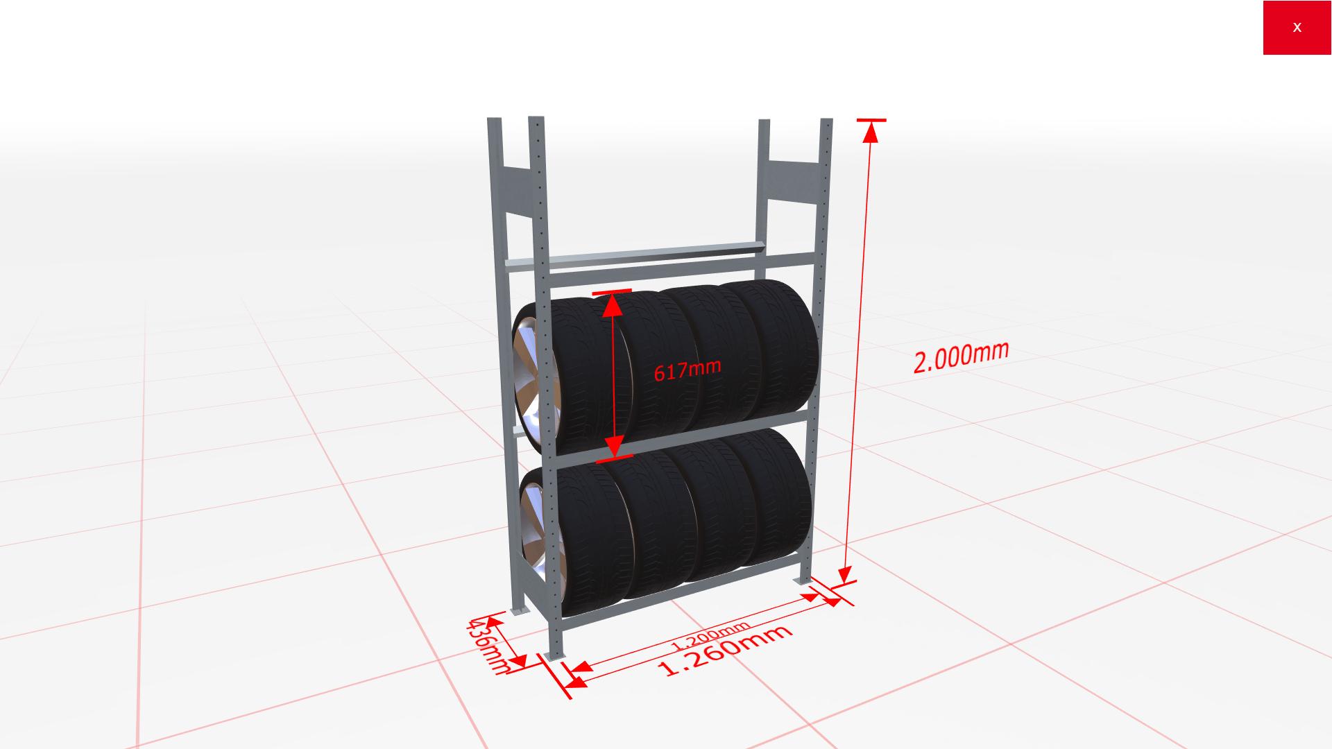Räderregal Grundregal SCHULTE Lagertechnik 2000x1200x400 mm – 3 Ebenen á 1200 mm, verzinkt