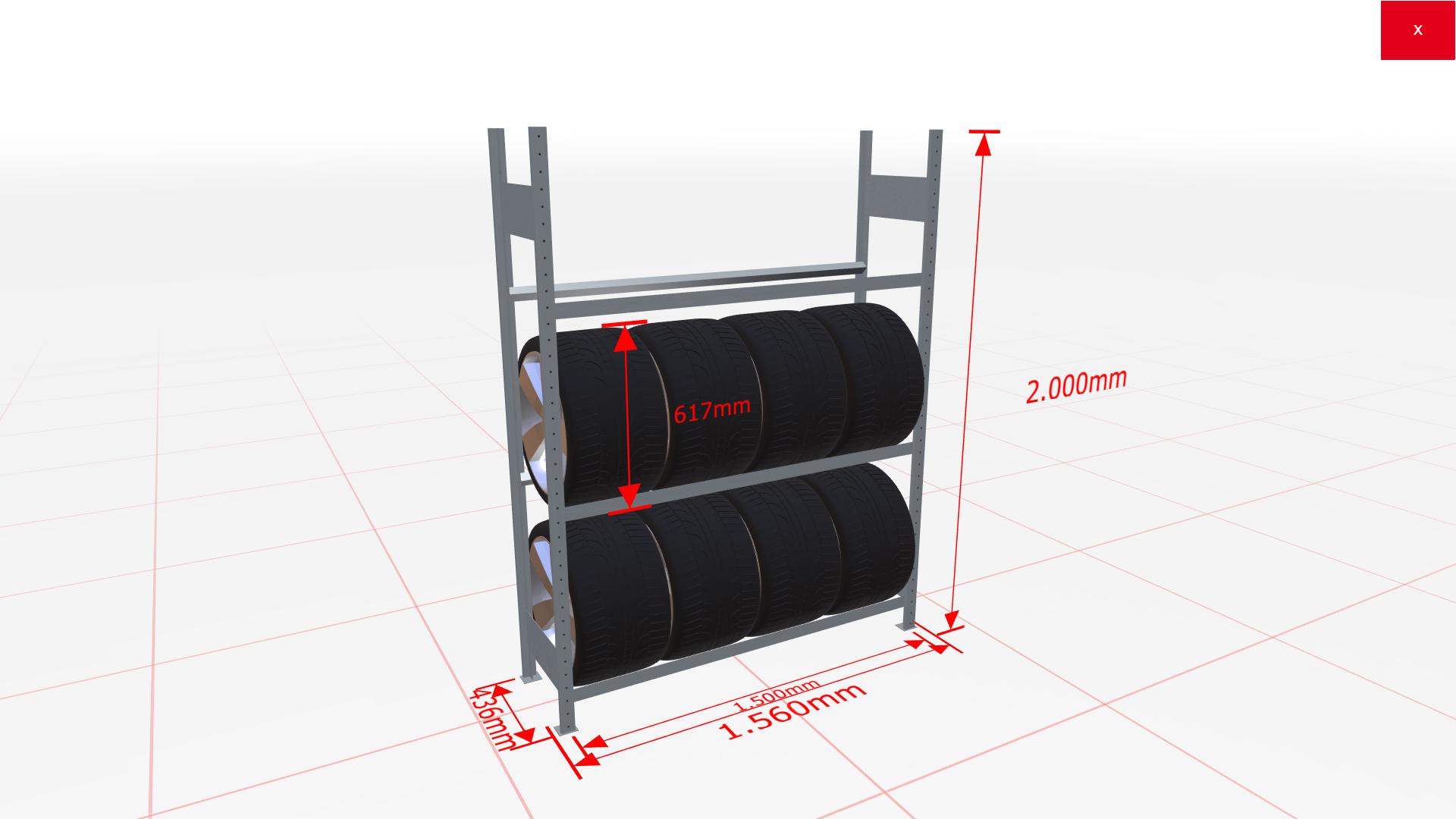 Räderregal Grundregal SCHULTE Lagertechnik 2000x1500x400 mm – 3 Ebenen á 1500 mm, verzinkt